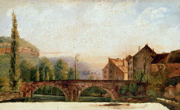 The Pont de Nahin at Ornans, c.1837 Canvas-taulu