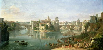 The Tiberian Island in Rome, 1685 Canvas-taulu