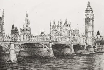 Westminster Bridge London, 2006, Canvas-taulu