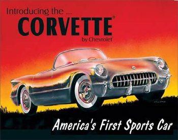 CHEVY 1953 CORVETTE - Chevrolet Plaque métal décorée