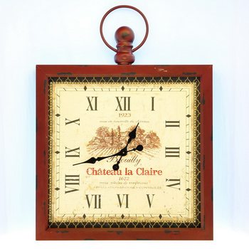 Design Clocks - Chateau la Claire / in red frame Clock
