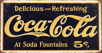 COKE VINTAGE LOGO Plaque métal décorée