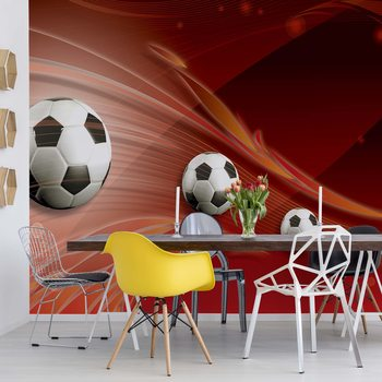 Papel de parede 3D Footballs Red Background