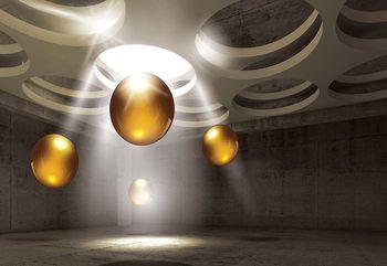Papel de parede  3D Modern Design Gold Spheres