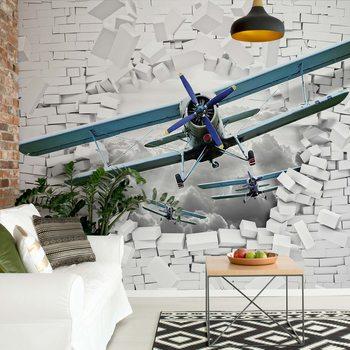 Papel de parede  3D Plane Bursting Through Brick Wall