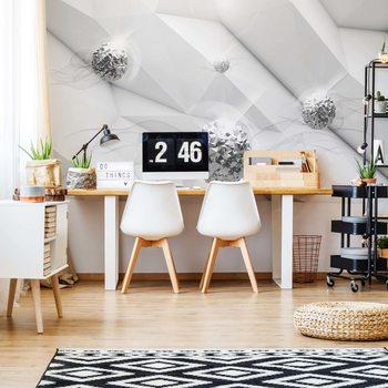 Papel de parede 3D Silver Balls Modern Design