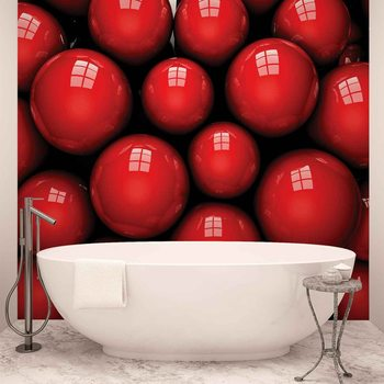 Papel de parede  Abstract Modern Red Balls
