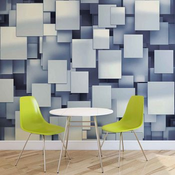 Papel de parede  Abstract Squares Modern Blue