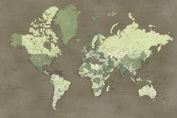 Papel de parede Army green detailed world map, Camo