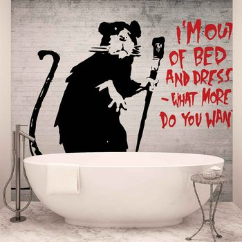 Papel de parede  Banksy Graffiti Rat Concrete Wall