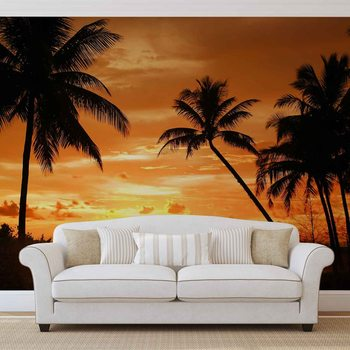 Papel de parede Beach Tropical Sunset Palms
