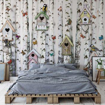 Papel de parede Birch Trees And Birdhouses Vintage Chic