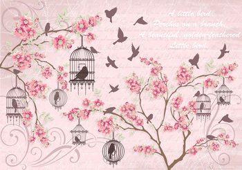 Papel de parede Birds Cherry Blossom Pink