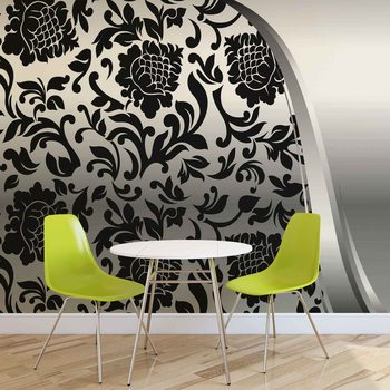 Papel de parede  Black Silver Flower Pattern