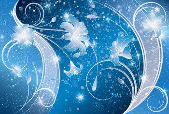 Papel de parede Blue Silver Floral Abstract