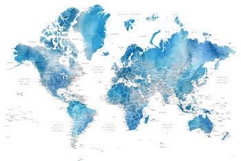 Murais de parede Blue watercolor world map with cities, Raleigh