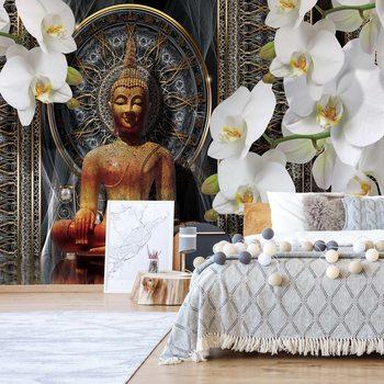 Papel de parede Buddha Zen Flowers Orchids Mandala