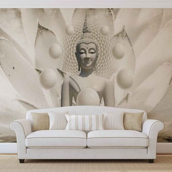 Papel de parede Buddha Zen Spheres Flower 3D