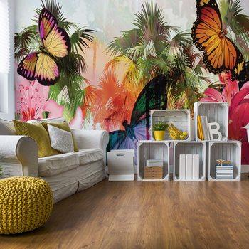 Papel de parede Butterflies Palms Flowers Modern Tropical