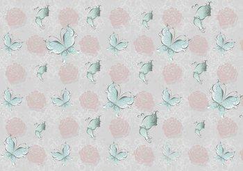Papel de parede Butterlies and Roses Pattern