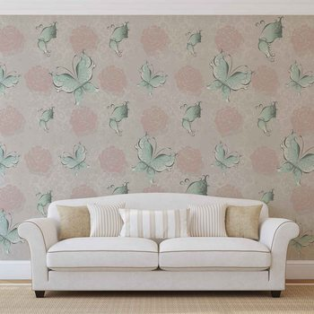 Papel de parede  Butterlies and Roses Pattern