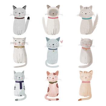 Murais de parede Cat Family