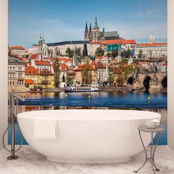 Papel de parede City Prague Bridge River Cathedral