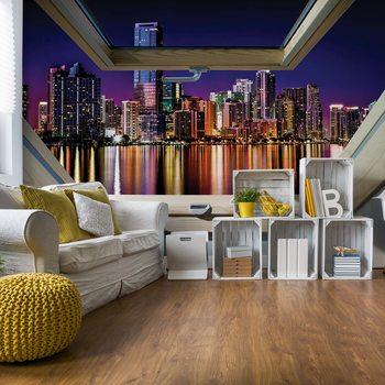 Papel de parede City Skyline Night 3D Skylight Window View