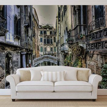 Papel de parede City Venice Canal Bridge Art