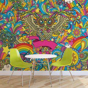 Papel de parede Colorful Owls Stars Rainbow Flowers