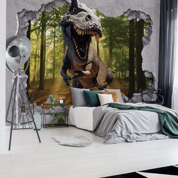 Papel de parede Dinosaur 3D Jumping Out Of Hole In Wall