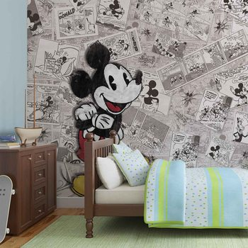 Papel de parede  Disney Mickey Mouse Newsprint Vintage