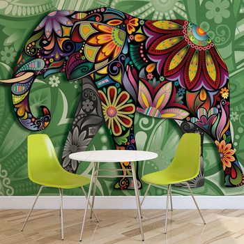 Papel de parede Elephant Flowers Abstract Colours