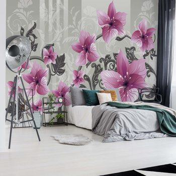 Papel de parede Floral Pattern With Swirls