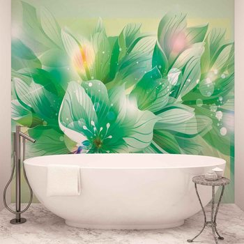 Papel de parede Flowers Nature Green