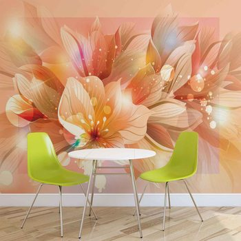 Papel de parede Flowers Nature Orange
