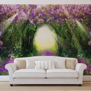 Papel de parede Flowers Purple Forest Light Beam Nature
