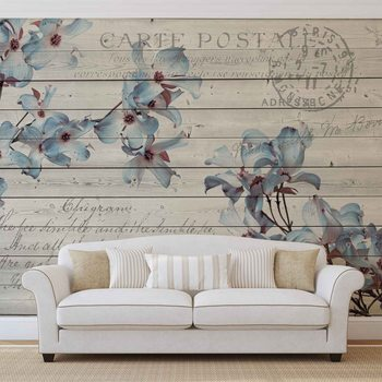 Papel de parede  Flowers Wood Pattern Vintage