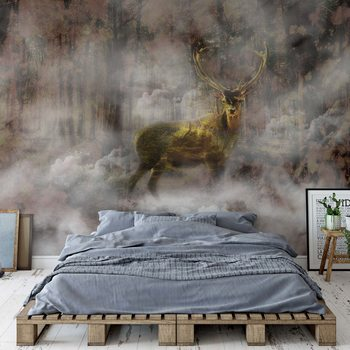 Papel de parede Forest Stag In The Mist