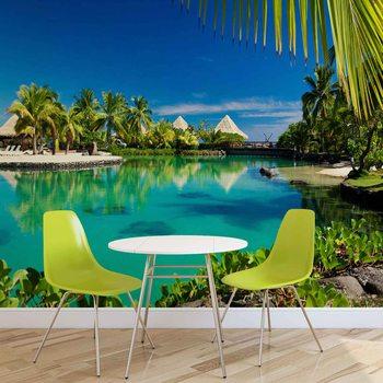 Papel de parede Island Palms Tropical Sea