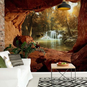 Papel de parede Lake Forest Waterfall Cave