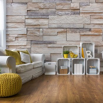 Papel de parede Light Stone Wall Texture