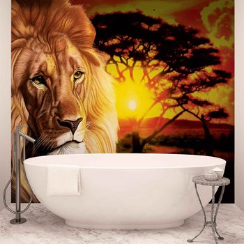 Papel de parede  Lion Sunset Africa Nature Tree