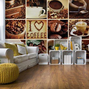 Papel de parede Love Coffee Squares