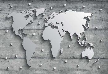Papel de parede Modern 3D World Map Concrete Texture