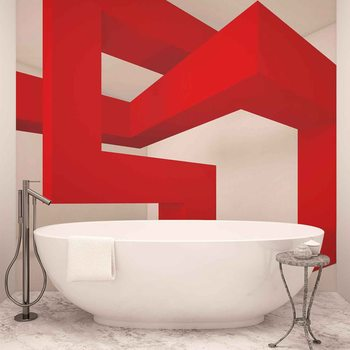 Papel de parede Modern Abstract Red White