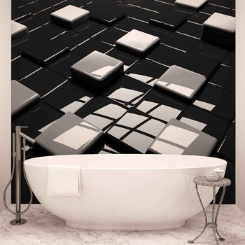 Papel de parede  Modern Abstract Squares Black White