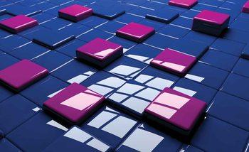 Papel de parede Modern Abstract Squares Blue Purple