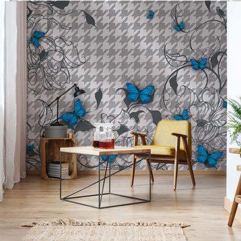 Papel de parede Modern Blue Butterflies Design