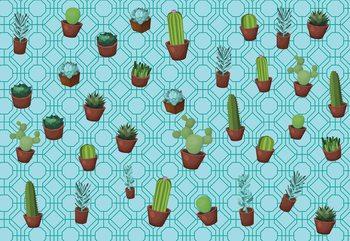 Papel de parede Modern Cactus Pattern Light Blue